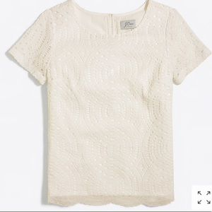 NWT JCrew Ivory lace top size 2